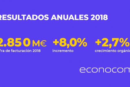 ECONOCOM anuncia un incremento en su facturación del 8,0% en 2018 (2.850 millones de euros) y una buena generación de efectivo