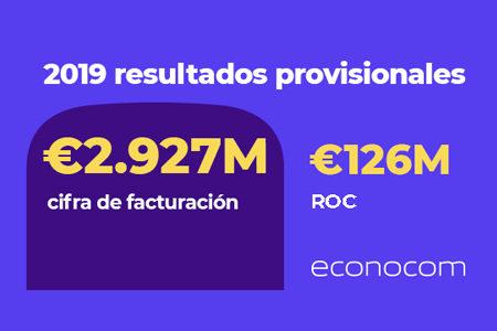 ECONOCOM anuncia un ROC1 estimado para 2019 de 126 M€, una Deuda Neta Contable2 contenida y un volumen de negocio3 estable
