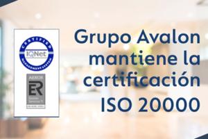 GRUPO AVALON ha superado con éxito la auditoria de AENOR de mantenimiento de su certificación en la norma ISO20000.
