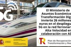 El Ministerio de Asuntos Económicos y Transformación Digital invierte 26 millones de euros en el despliegue de 5G en la red ferroviaria de Alta Velocidad en colaboración con ADIF